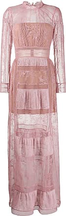 Self Portrait lace trim maxi dress - PINK