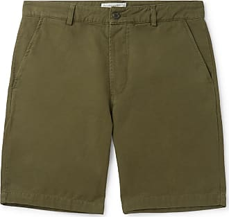 Universal Works Slim-fit Garment-dyed Cotton-canvas Shorts - Army green