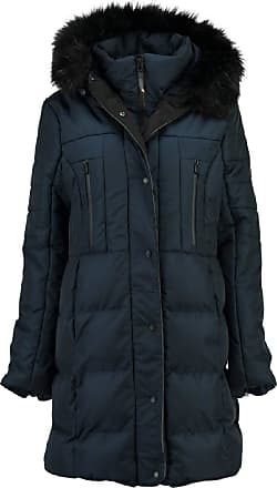 Geographical Norway Diaz Womens Long Down Jacket with Fur Hood - Blue - 12