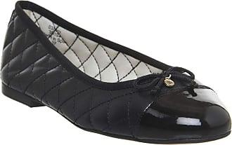 Office Cecilia Toe-Cap Ballerina Black Leather Patent with Branding - 6 UK