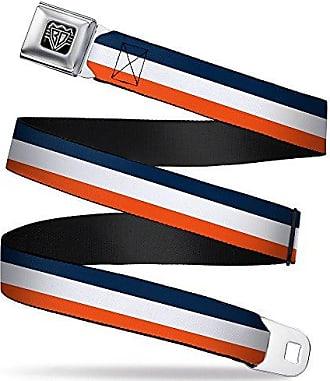 Buckle-Down Unisex-Adults Seatbelt Belt Plaid Regular 1.5 Wide-24-38 Inches x Navy//Orange//White