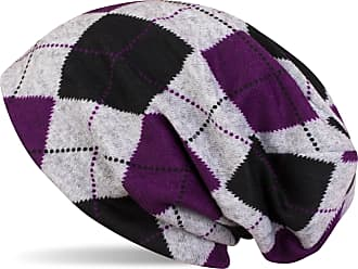 styleBREAKER Flecked Vintage Style Classic Checked Pattern fine Knit Slouch Beanie, Unisex 04024055, Colour:Grey-Black-Violet