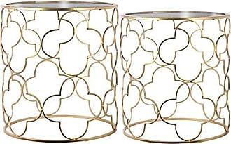Urban Trends Collection Urban Trends Round Nesting Accent Table with Mirror Top and Lattice Quatrefoil Design Body Metallic Finish Gold