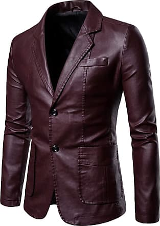 Yonglan Mens Pu Leather Blazer Large Size Lapel Solid Color Coat Casual Slim Pu Leather Jacket Wine Red L