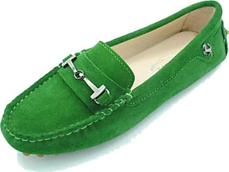 MGM-Joymod Ladies Womens Casual Slip-on Metal Buckle Grass Green Suede Walking Driving Loafers Flats Moccasins Hiking Shoes 5.5 M UK