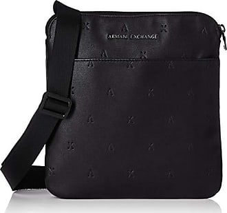 A X Armani Exchange Armani Exchange Mens Embossed Faux Leather Crossbody,  Nero, ONE 9e61f9cc8d