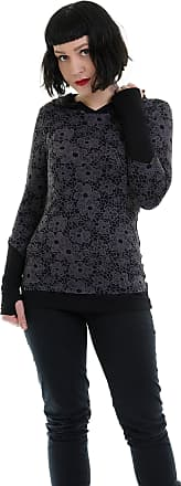 3Elfen Hoodie Longs Sleeve Woman/Casual Hooded Fashion Shirt in Black with Cuffs Designed, Thumbhole Top Goa Gothic - Printed Flower lace,XXL