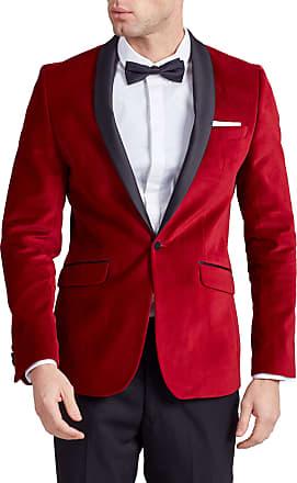 Dobell Mens Red Velvet Tuxedo Jacket Regular Fit Contrast Shawl Lapel-44R