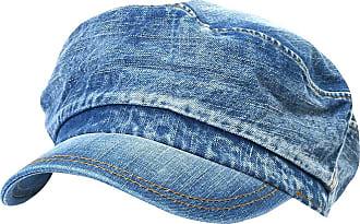 Ililily Vintage Washed Denim Military Solid Color Cotton Cadet Cap Flex-fit Army Camo Style Hat (cadet-524-2)