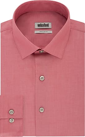 Unlisted by Kenneth Cole Mens Dress Shirt Regular Fit Solid, Brick, 16-16.5 Neck 36-37 Sleeve (Large)