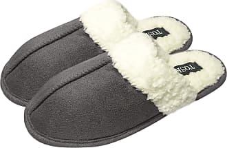 TOSKATOK Unisex Ladies Womens Mens Warm Winter Faux Suede Soft Sherpa Fur Fleece Lined Sheepskin Slippers Slip on Mules -GREY-11/12