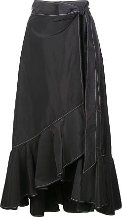 Ganni Vestido assimétrico com acabamento de babados - Preto