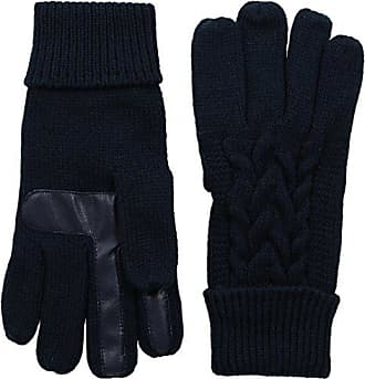 Isotoner Womens Smartouch Solid Triple Cable Knit Palm Glove with Palm Patches, Navy, One Size