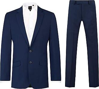 Dobell Mens Dark Blue 2 Piece Suit Slim Fit Notch Lapel (40R Jacket with 34R Trousers)