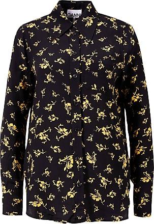 Ganni Bluse mit floralem Print Schwarz/Gelb