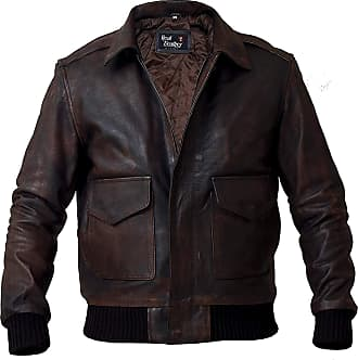 Generic Mens Aviator A-2 Flight Navy Air Force Distressed Leather Bomber Jacket (Brown, XL)