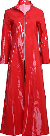 TiaoBug Men Women PVC Leather Clubwear Wetlook Long Sleeve Coat Partywear for Party Club Red X-Large