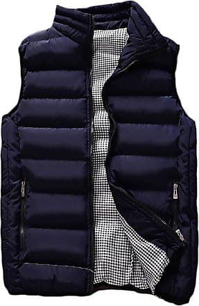 ZongSen Mens Winter Outdoor Puffer Vest Body Warmer Quilted Waistcoat Padded Sleeveless Jacket Dark Blue 4XL