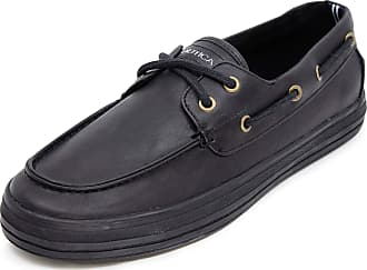 Nautica Mens Galley Lace-Up Boat Shoe,Two-Eyelet Casual Loafer, Fashion Sneaker-Galley-Black Smooth 1-10.5