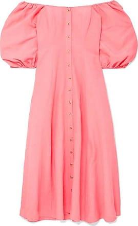Mara Hoffman Mika Off-the-shoulder Tencel And Linen-blend Midi Dress - Coral