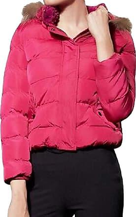 VITryst Womens Zipper Thicken Puffer Faux Fur Trim Hood Long Sleeve Pockets Short Jackets Outwear Jacket,3,Medium