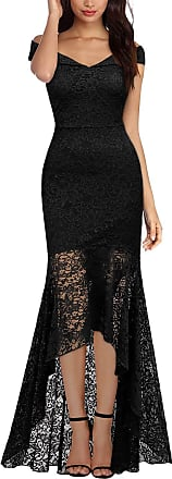 Miusol Womens Off Shoulder Lace High Low Evening Dress (Medium, Black)