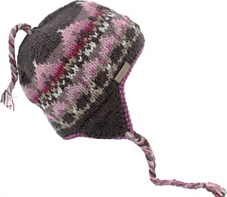 KuSan 100% Wool Beannie/Trapper/Earflaps Fleece Lined (Dark Brown/Pink)