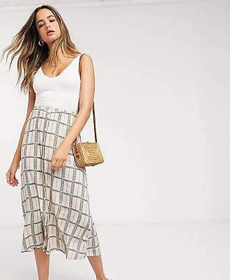 Y.A.S. Tall maxi skirt in cream floral grid check-Multi