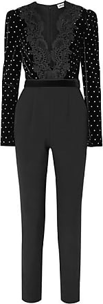 bca157d47c8e Self Portrait Guipure Lace-trimmed Embellished Velvet And Crepe Jumpsuit -  Black