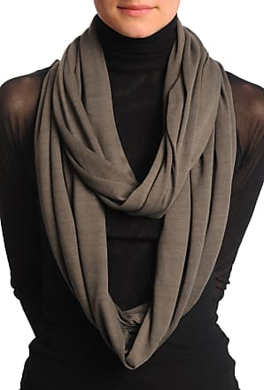 Liss Kiss Taupe Brown Soft Cotton Snood Scarf - Brown Designer Snood