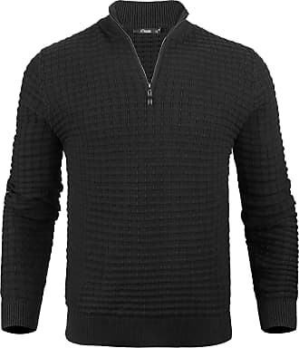 iClosam Mens Zip Jumpers Mens Set-in Classic Sweater Pullover Knitwear Black