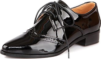 Vimisaoi Womens Fashion Patent Leather Perforated Lace Up Oxfords Shoes Brougues Shoes Black