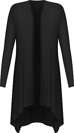 WearAll Womens Plus Size Hank Hem Long Sleeve Open Waterfall Cardigan 14 - Black - 22-24