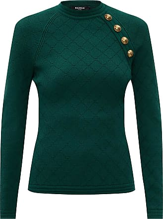 Balmain Sweater With Logo Womens Green