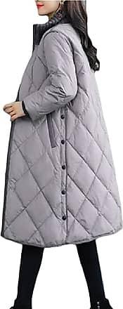 VITryst Womens Long Sleeve Stand Collar Pocket Zipper Down Winter Warm Jacket Coat Outwear,Gery,XX-Large
