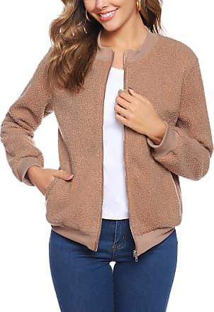 iClosam Ladies Zipper Jacket Womens Fleece Coats Casual Outerwear Tops Open Front Cardigan Jacket Sweater with Pockets Khaki