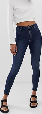 Cheap Monday spray on high waist organic cotton skinny jeans-Blue