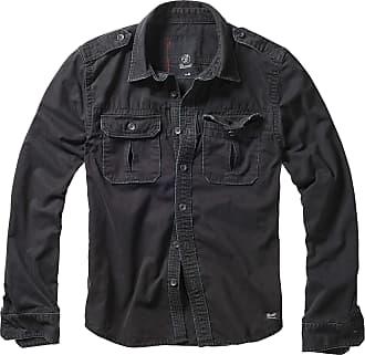 Brandit Mens Vintage Shirt Longsleeve, Black Long Sleeve, XXX-Large