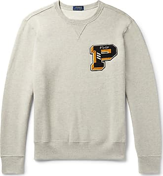 Polo Ralph Lauren Appliquéd Mélange Fleece-back Cotton-blend Jersey Sweatshirt - Light gray