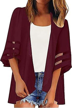 Yvelands Long Sleeve Cardigan Women Casual Mesh Panel 3/4 Bell Sleeve Loose Chiffon Kimono Shirt Wine