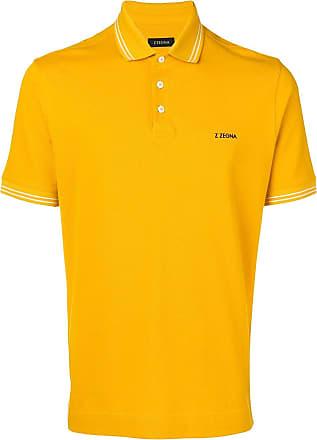 Ermenegildo Zegna logo print polo shirt - Yellow