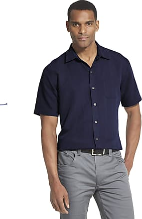 Van Heusen Mens Air Short Sleeve Button Down Poly Rayon Stripe Shirt Faded Cadet, Medium