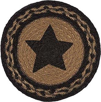 VHC Brands Classic Country Primitive Tabletop & Kitchen - Farmhouse Jute Black Stencil Star Trivet, 8
