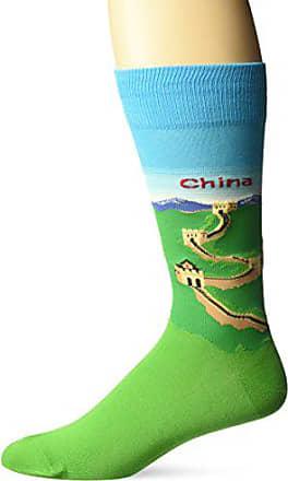 Hot Sox Mens Fashion Travel Crew Socks, China (Light Blue), Shoe Size: 6-12