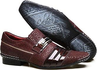 Calvest Sapato Social em Couro Verniz com Textura e Detalhes Calvest - ZM1750C967-002 Bordô-45