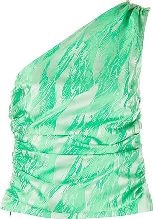 Ganni Blusa jacquard com ombro único - Verde