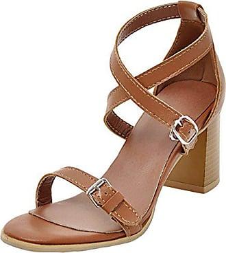 5904d0cda2 Aiyoumei Damen Knöchelriemchen Sandalen Blockabsatz 6cm Absatz Riemchen  Sandaletten mit Schnalle Bequem Elegant Pumps Sommerschuhe