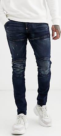 G-Star 5620 - Enge Jeans mit 3D-Reißverschluss am Knie und mittlerer Waschung-Blau