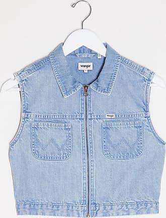 Wrangler Camicia corta di jeans stile western senza maniche blu lavaggio chiaro