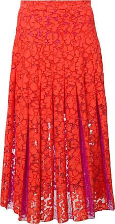 Diane Von Fürstenberg Saia de renda floral - Vermelho